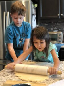 My kids busy in the kitchen